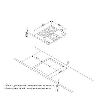 Газовая варочная панель Korting HGG 4825 CTN