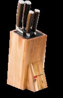 Набор ножей Omoikiri Mikadzo Damascus Suminagashi + подставка_0