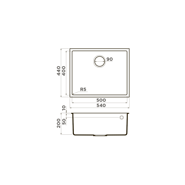 Кухонная мойка Omoikiri Bosen 54-U-BL