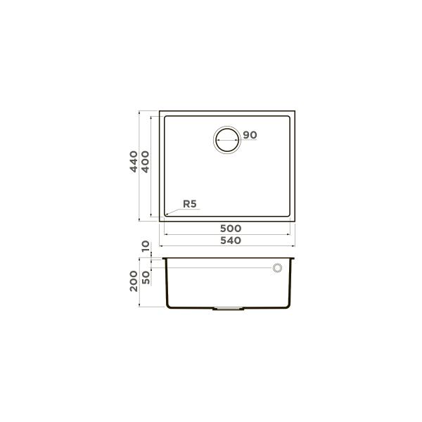 Кухонная мойка  Omoikiri Bosen 54-U-СH