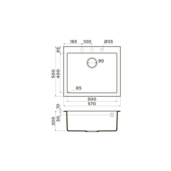 Кухонная мойка Omoikiri Bosen 57-BL