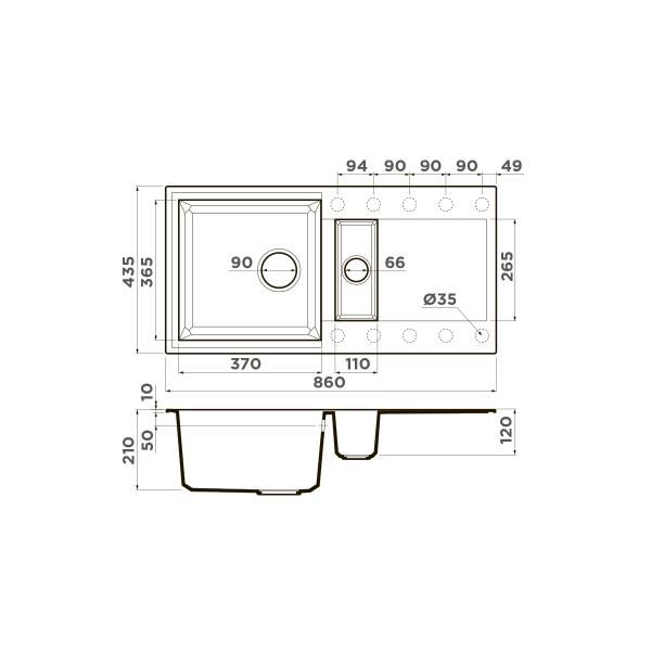 Кухонная мойка Omoikiri Sakaime 86-2-DC