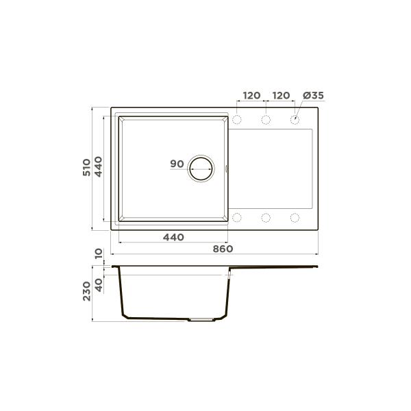 Кухонная мойка Omoikiri Daisen 86-BL
