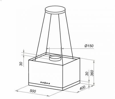 Островная вытяжка MAUNFELD BOX Rope (Isla) 50 GLASS Black