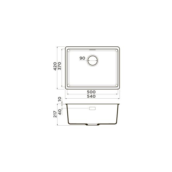 Кухонная мойка Omoikiri Kata 54-U-PA