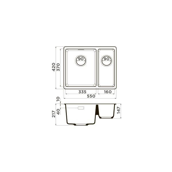 Кухонная мойка Omoikiri Kata 55-2-U-PA