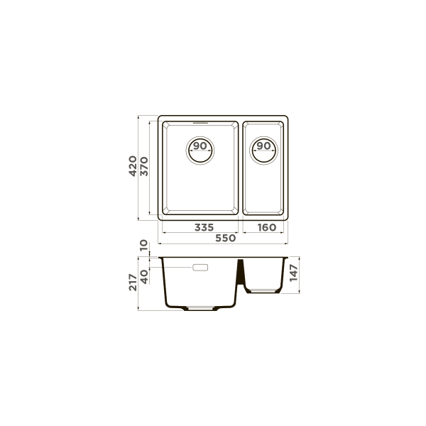 Кухонная мойка Omoikiri Kata 55-2-U-BL