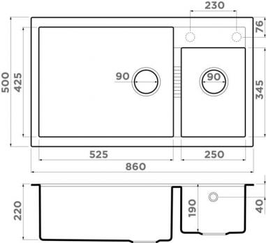 Кухонная мойка Omoikiri Tedori 86-2-LB CH