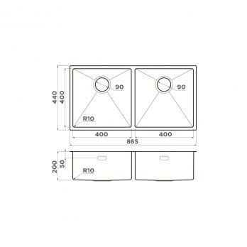 Кухонная мойка Omoikiri Taki 86-2-U/IF GM