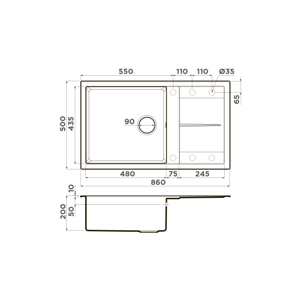 Кухонная мойка Omoikiri Sumi 86-EV