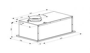 Полновстраиваемая вытяжка LEX GS BLOC LIGHT 600 INOX_1