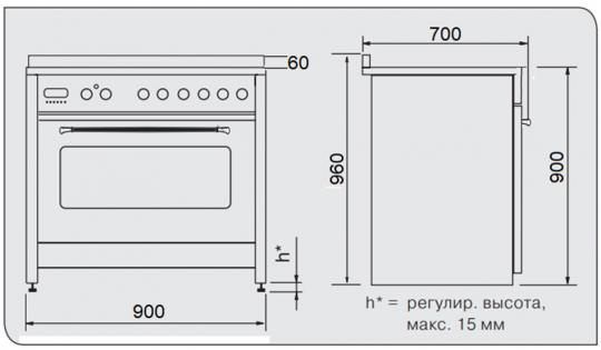 Отдельностоящая плита KUPPERSBERG ZBM 3399 ANT Silver