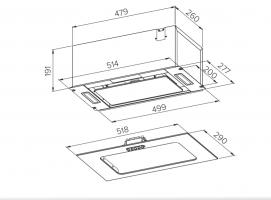 Полновстраиваемая вытяжка Homsair Crocus Push 52 Glass Black_1